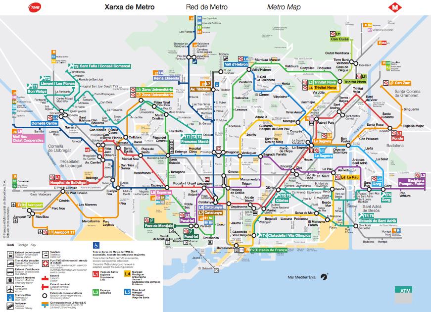 Barcelona metro map 2016
