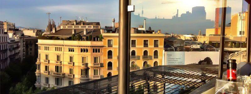 Barcelona rooftops. Terraces of hotels