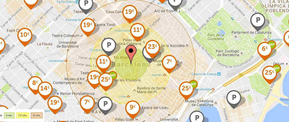 map of Barcelona parking