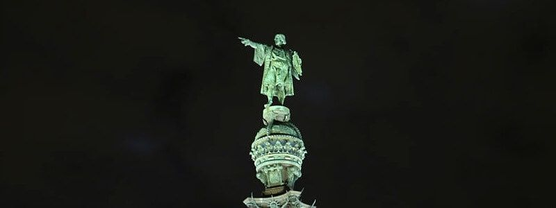 Christopher Columbus statue at night