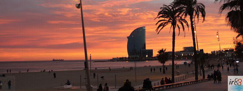 Barcelona promenade sunset