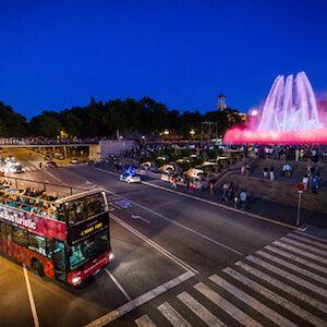 night-time Barcelona tour bus